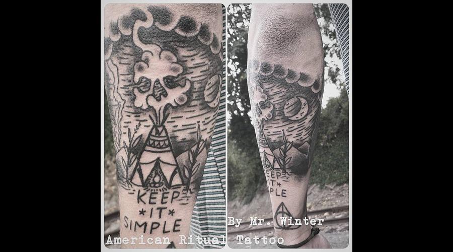Blackwork  Teepee  Keep It Simple  Traditional  Nature  420  Weed  Smoke Lower Leg