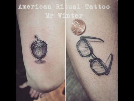 Tiny  Dotwork  Blackwork  Acorn  Glasses  Small   Arm