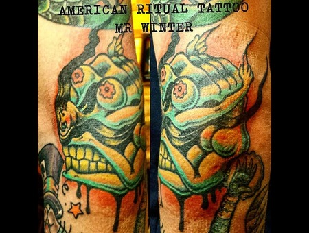 Neotraditional  Skull  Pychedelic  Optical Illusion  Neotraditional  Forearm