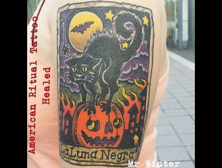 Tarot  Black Cat  Occult  Halloween  Card   Arm