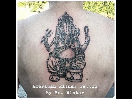 Ganesh  Hindu  Spiritual  Blackwork  Dotwork  Wood Cut  420  Peace Back