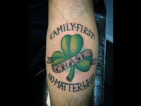 Shamrock Lettering Color Custom Forearm