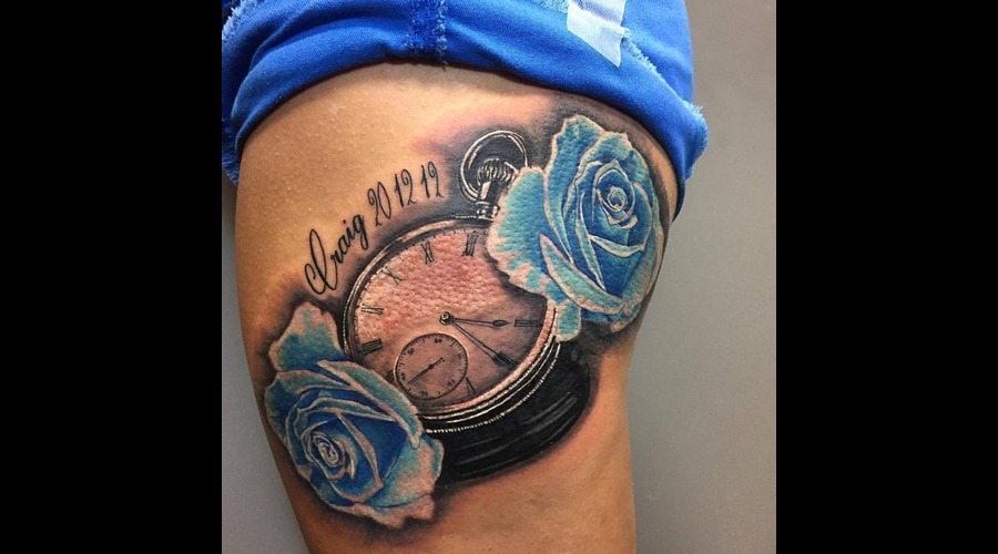 Clock And Roses Thigh