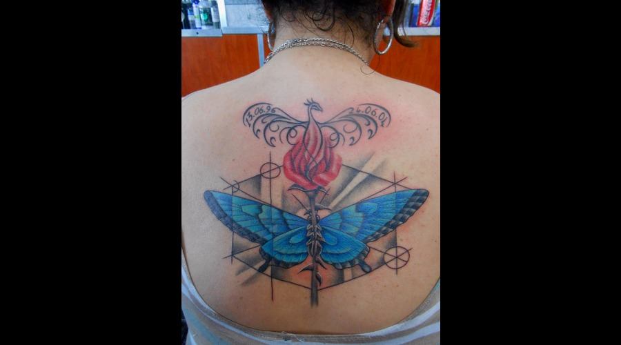 Butterfly  Rose  Phoenix  Nature  Geometric  Wings Back