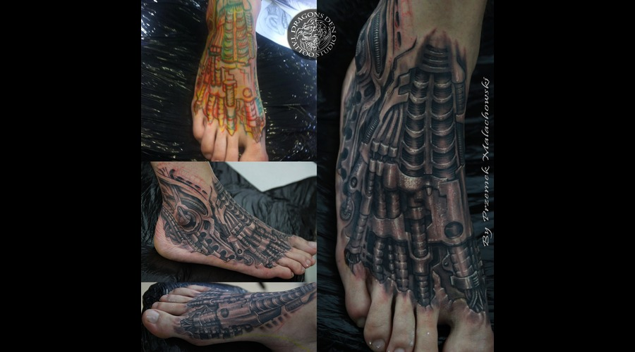 Foot  Bio  Biomechnical  Organica  Realistic  3 D  Under Skin  Male Tattoo   Foot