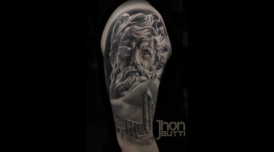 Neptune Tattoo  Poseidon Tattoo Realistic Tattoo  Poseidon Temple Shoulder
