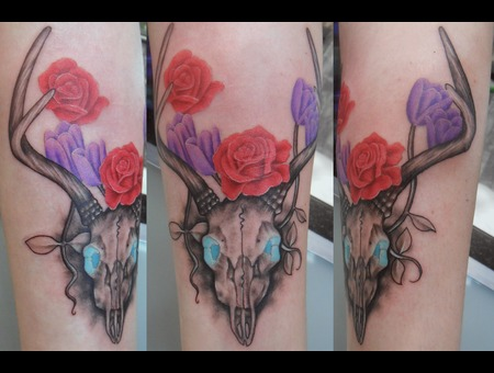 Deer  Skull  Roses  Tulips  Flowers  Nature  Death  Horns Forearm