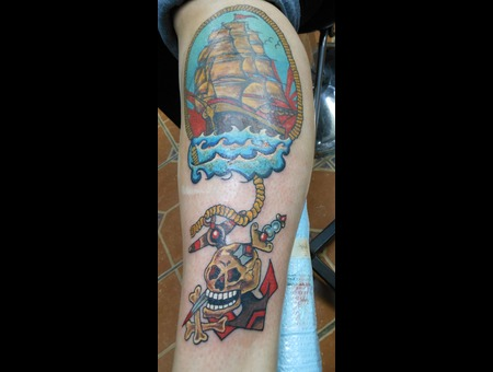 Ship Sailor Anchor Skull Color