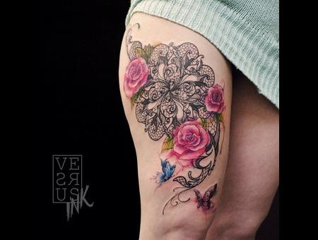 Watercolour  Geometry  Watercolor  Mandala  Art  Lace  Flower  Space  Uk Thigh