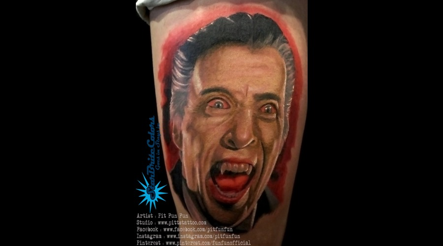 Christopher Lee Dracula Colour Portrait Tattoo By Pit Fun . Www.Facebook.Co Thigh