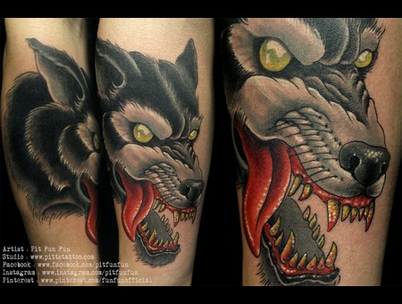 Traditional Wolf Design/Tattoo By Pit Fun . Www.Facebook.Com/Pitfunfun Forearm