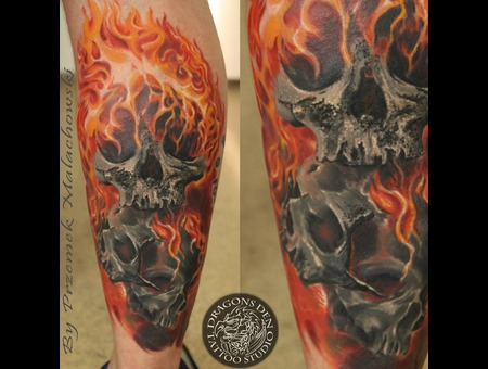 3 Skulls In Flames  Ghost Rider   Lower Leg