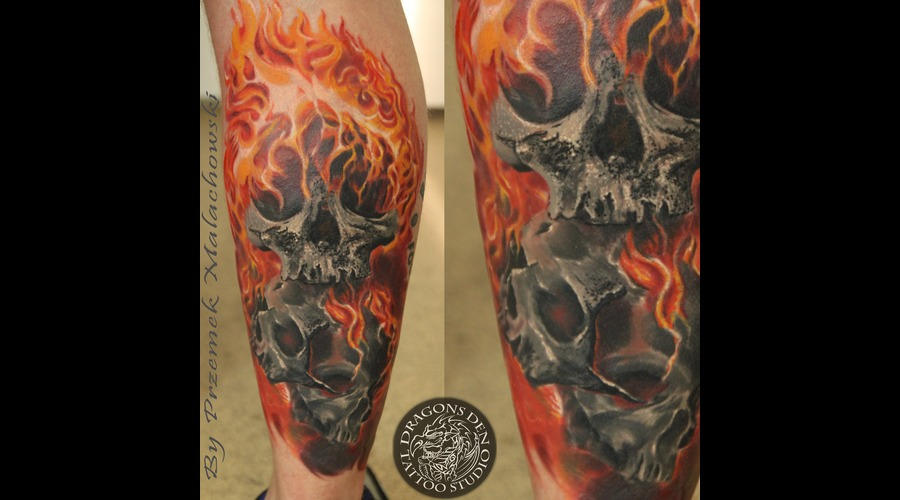 3 Skulls In Flames  Ghost Rider   Lower Leg