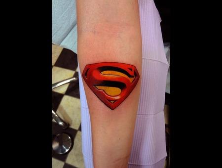 Superman Symbol Tattoo Forearm