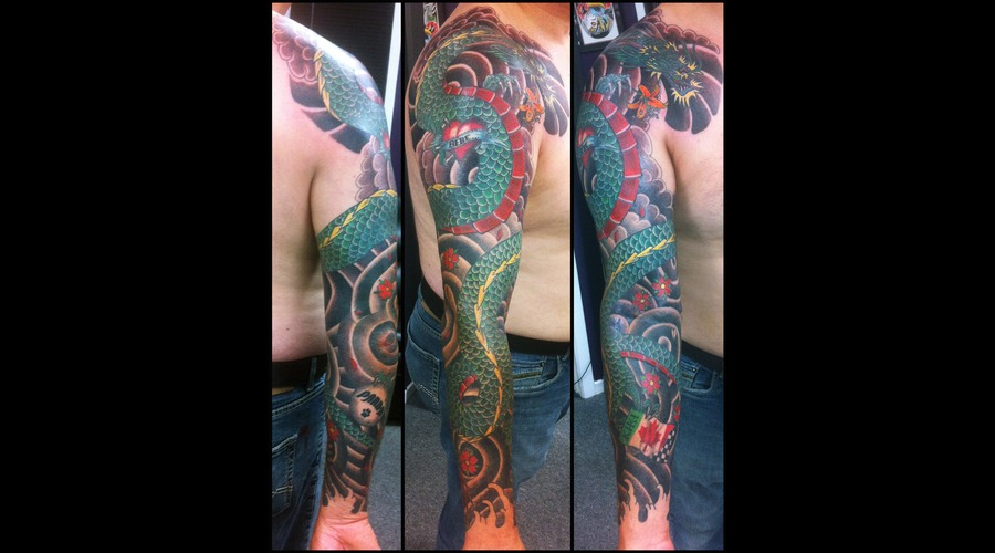 Traditioonal Japanese Dragon Sleeve Tattoo Arm