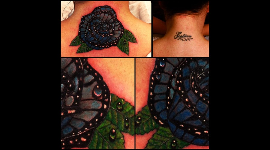 Butterfly Rose Tattoo Neck