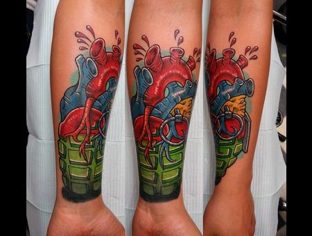 Heart Grenade Tattoo Forearm