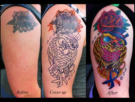 Owl  Rose  Coverup Tattoo Arm