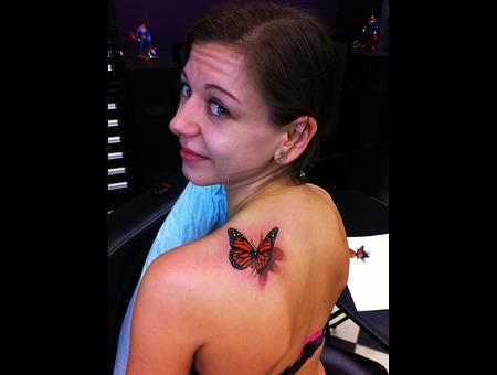 3 D Butterfly Tattoo Shoulder
