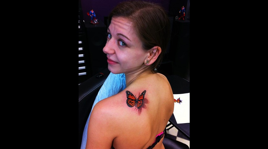3 D Butterfly Tattoo Shoulder