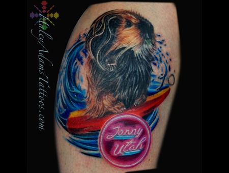 Surfing Guinea Pig Tattoo  Jonny Utah  Lower Leg