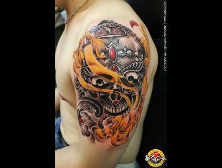 Tibetan   Skull Black White