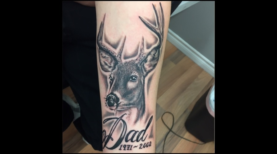 Buck  Memorial  Realism  Portrait  Black And Grey  Wildlife  Nature Forearm
