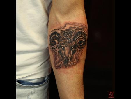Ramhead Tattoo Montreal Artist Gabor  Zsil Zsilvolgyi Arm