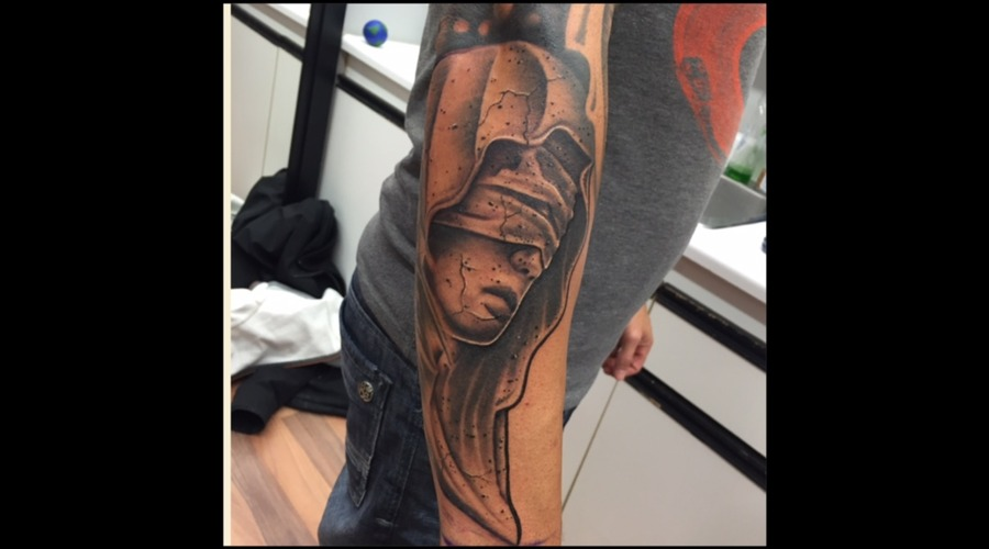 Black And Grey  Statue  Realism  Portrait  Blindfold   Forearm