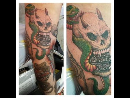 Harley Davidson  Harleys Snake Skull Biker Motorcycle Arm