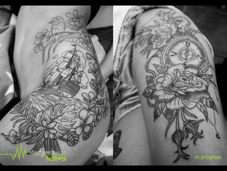 Linework  Girly  Flowers  Compass  Ship   Hip
