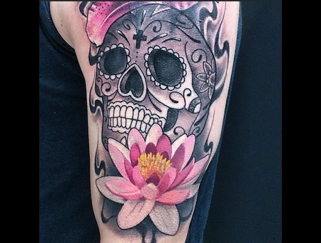 Tattoo  Art  Skull  Flower Arm