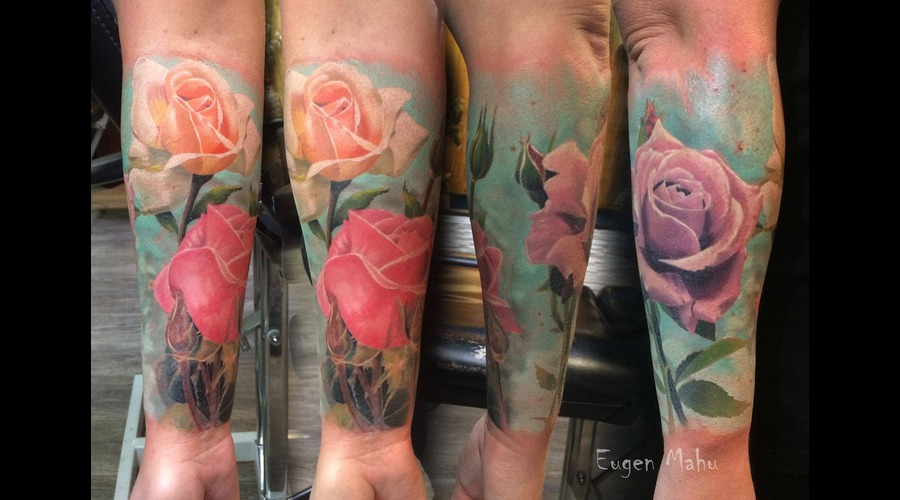 Tattoo  Art  Realistic  Roses Forearm