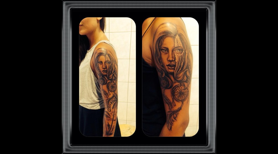 #Ledjaqereshnikutattoo#Realisticportraittattoo#Girlportraitwithfeathertatto Arm