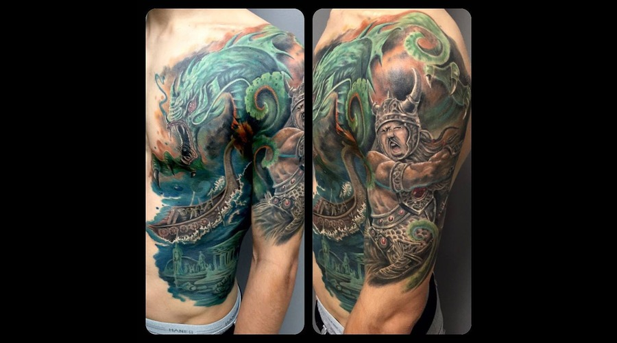 Water  Serpent  Boat  Fight  Portrait  Face  Fighting   Chest