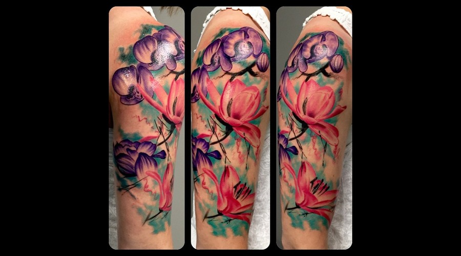 Watercolor  Flower  Lily  Poppy  Chrysanthemum  Portrait  Flowers Arm