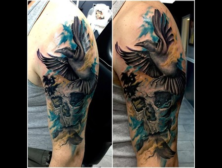 Skull  Raven  Watercolor Arm