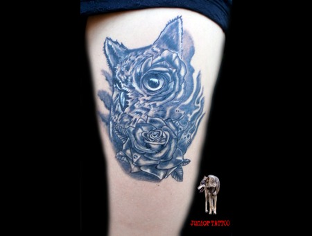 Owl And Rose Thigh