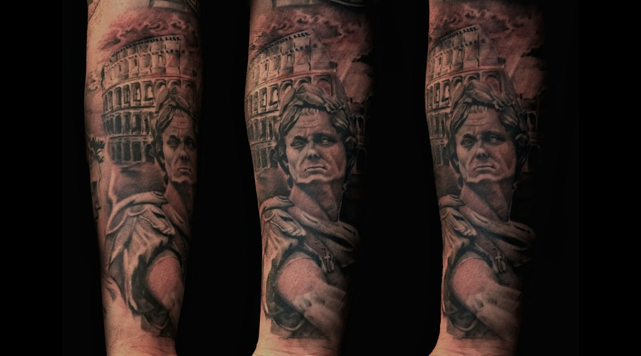 Greek  Gladiator  Caesar Tattoo  Roman  Black Grey Forearm
