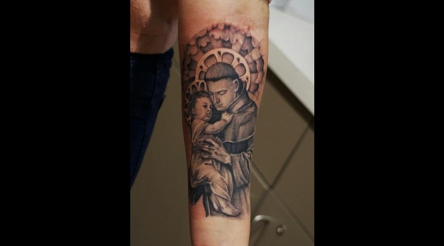 San Antonio  Religious  Black Grey Forearm