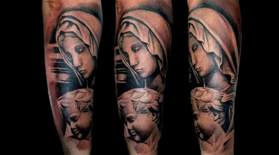 Michelangelo  Baby Statue  Angel Statue  Angel  Virgin Tattoo Black Grey Forearm