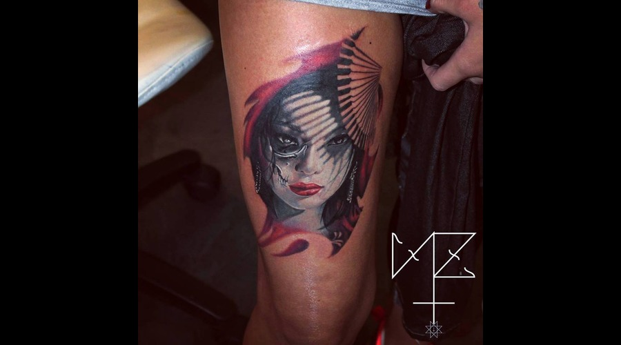 Geisha Skull Color Thigh