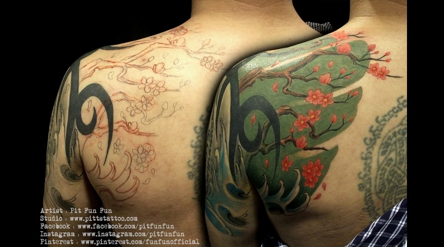 Free Hand Cherry Blossom Tattoo By Pit Fun Shoulder
