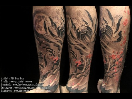 Oiental Lotus And Cherry Blossom Design And Tattoo By Pit Fun Lower Leg