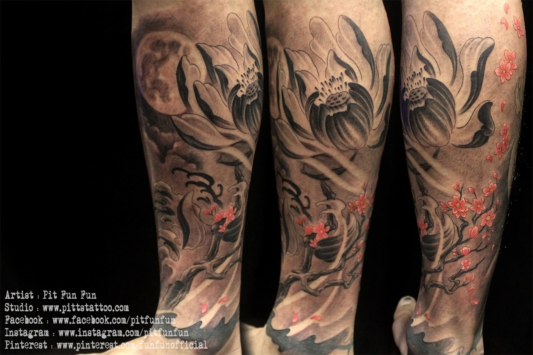 Browse worlds largest tattoo image gallery trueartists oiental lotus and cherry blossom design and tattoo by pit fun lower leg izmirmasajfo Image collections