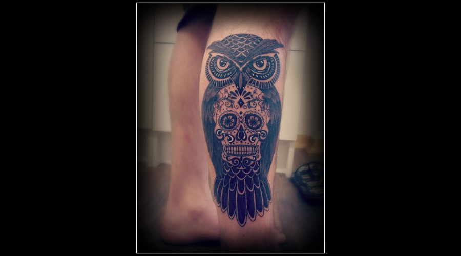 Sugar Skull  Owl Lower Leg
