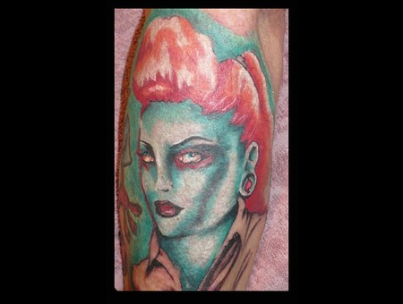Zombie Pin Up Psycobilly Hot Rod Gal Forearm