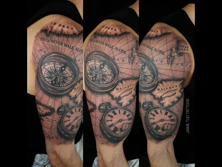 Map  Compass  Clock Arm