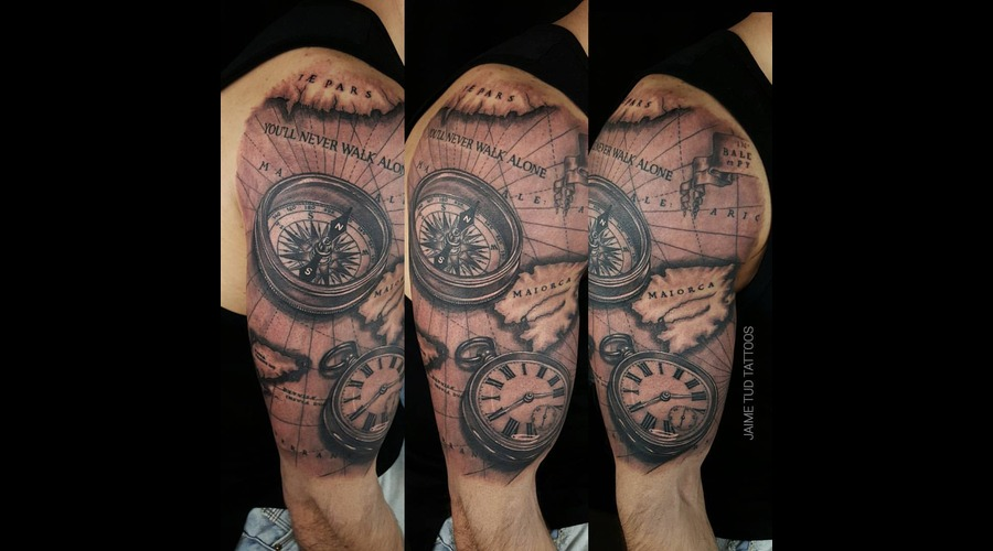Map  Compass  Clock Arm