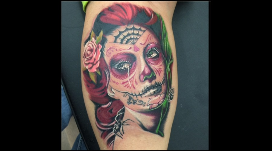Bella Muerte  Day Of The Dead  Sugar Skull  Realism  Colour  Color Lower Leg